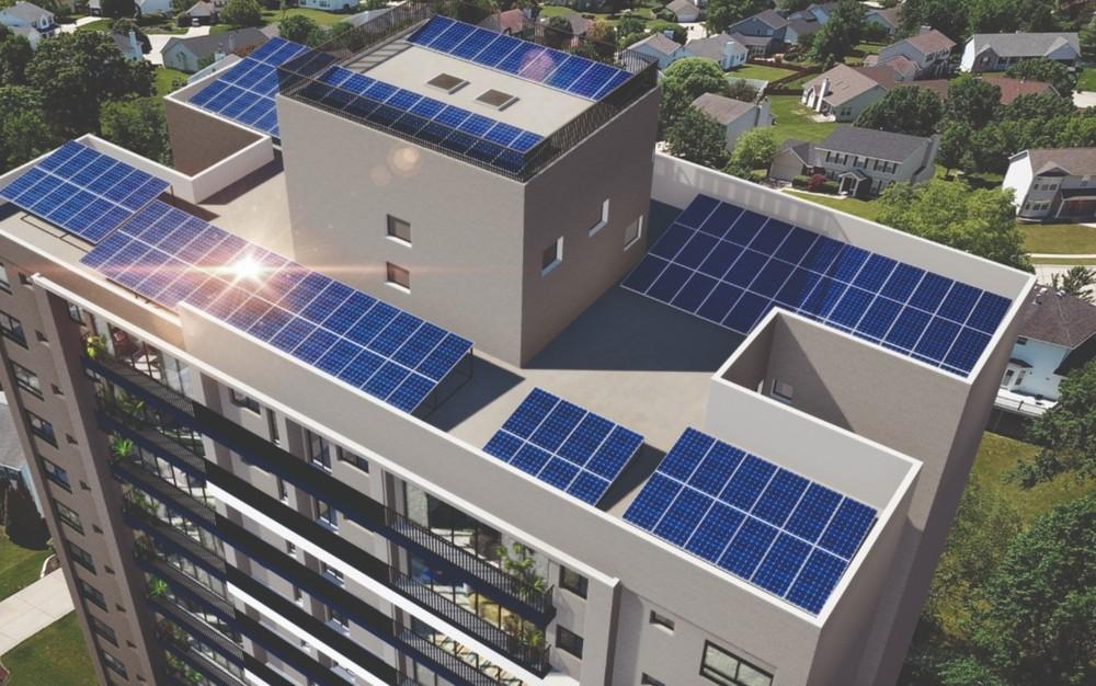 Sistema de energia fotovoltaica implantada no edifício Talk Marista, em Goiânia — Foto: Divulgação