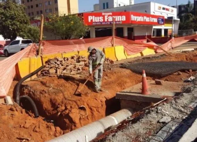 Obras do BRT alteram o trânsito na Avenida Goiás (Foto: Prefeitura de Goiânia / Divulgação)
