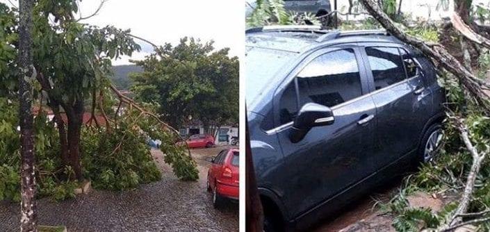 Tempestade causa estragos e assusta moradores de Pirenópolis