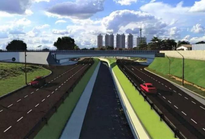 Uma ponte será erguida na Av. Leste-Oeste sobre a Marginal Botafogo, no cruzamento das duas vias, no setor Leste Vila Nova. (Foto: Divulgação/Prefeitura)