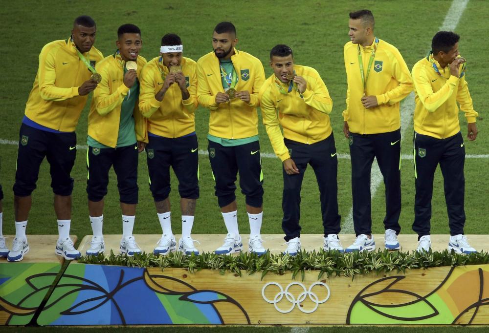 Brasil é o atual campeão da Olimpíada no futebol masculino — Foto: Reuters