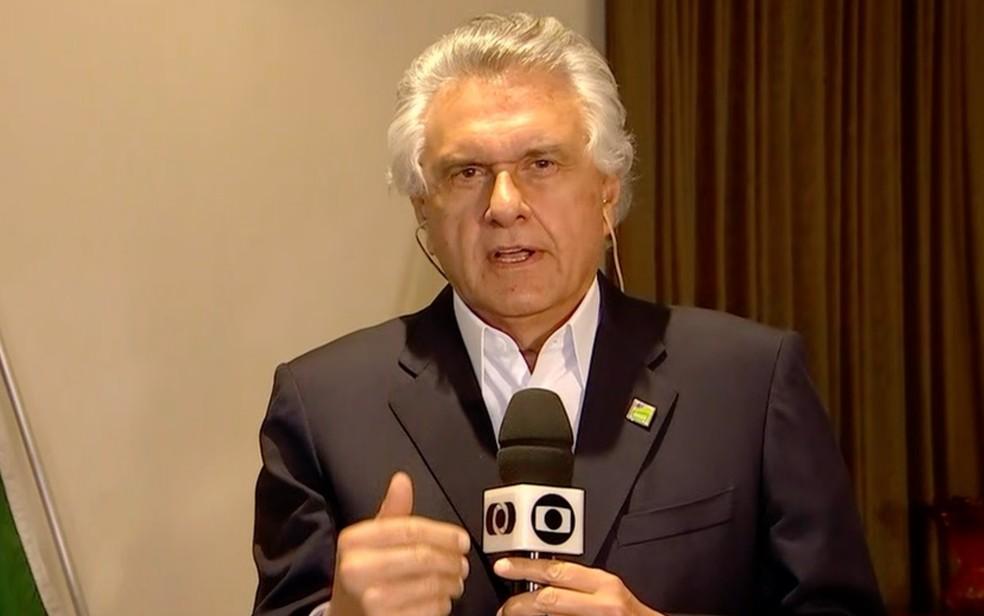 Ronaldo Caiado alega falta de apoio em novo decreto — Foto: Reprodução/TV Anhanguera